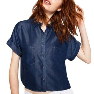 Zara dark denim button up